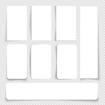 Ensemble de cartes blanches vides de différentes tailles et avec différents types de bords