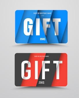 Ensemble de cartes-cadeaux dans le style de la conception matérielle avec des éléments diagonaux et triangulaires.