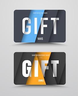 Ensemble de cartes-cadeaux avec des feuilles de papier flottantes et du texte à différents niveaux de hauteur.