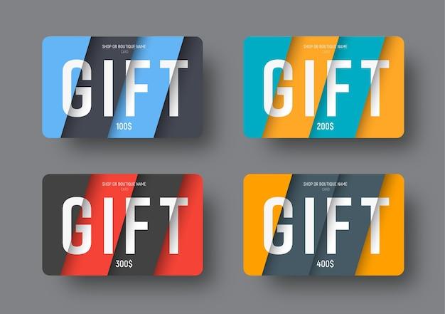 Ensemble de cartes-cadeaux de vecteur dans un style moderne de conception matérielle avec des feuilles de papier diagonales en flèche