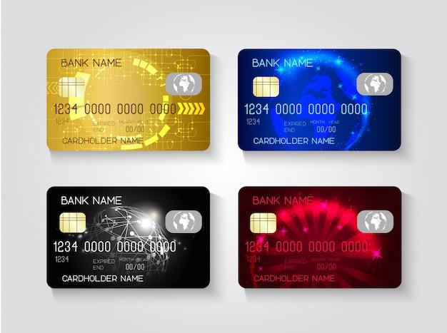 Ensemble de cartes de crédit réalistes.