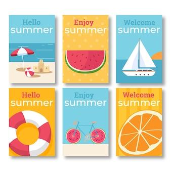 Ensemble de cartes d'été plat