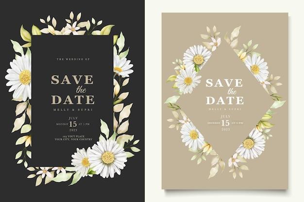Ensemble de cartes de fleurs de chrysanthème aquarelle d'été