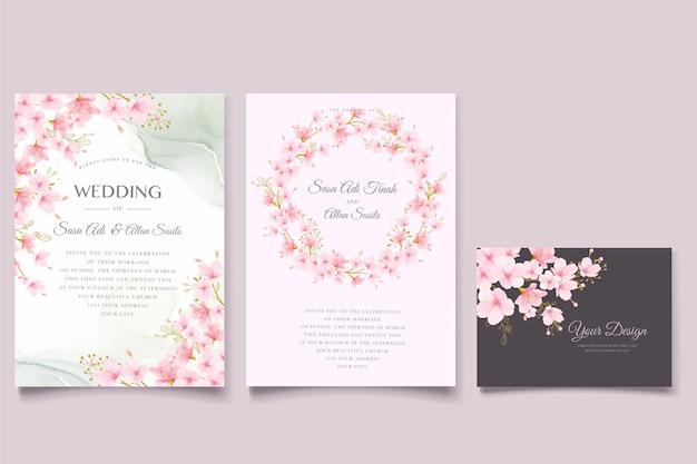 Ensemble de cartes floral et feuilles de fleurs de cerisier aquarelle