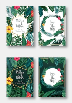Ensemble de cartes floral invitation de mariage, réservez la date et le cadre