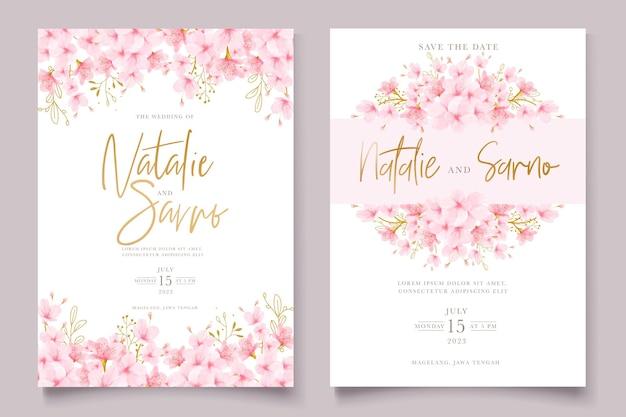 Ensemble de cartes florales de fleurs de cerisier aquarelle