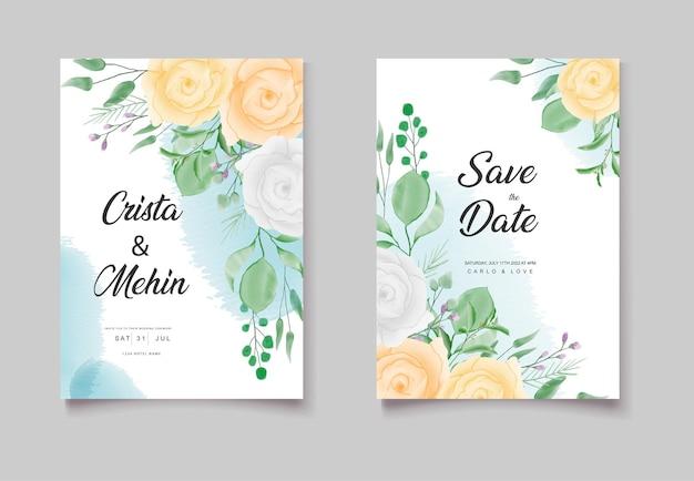 Ensemble de cartes florales d'invitation de mariage romantique