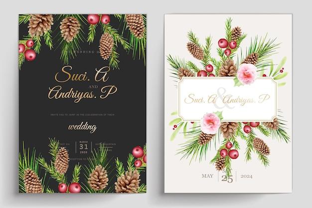 Ensemble de cartes florales de noël dessinés à la main