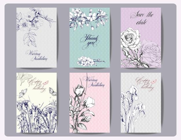 Ensemble de cartes florales vintage. cadre avec roses, iris et autres fleurs. illustration vectorielle