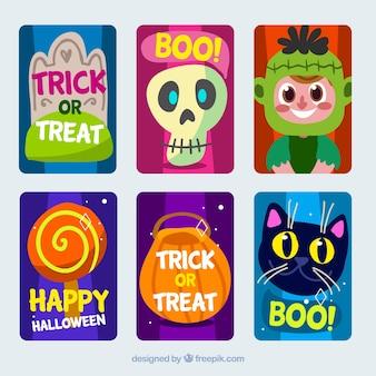 Ensemble de cartes d'halloween dessinés à la main