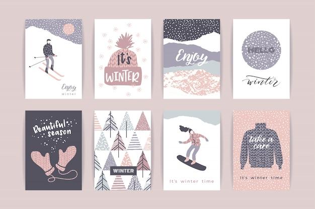 Ensemble de cartes d'hiver artistiques créatives.