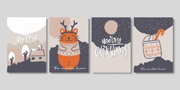 Ensemble de cartes d'hiver et de noël créatives artistiques.