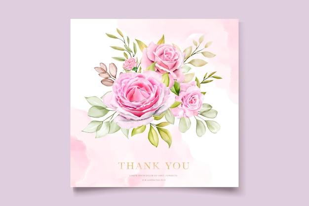 Ensemble de cartes d & # 39; invitation aquarelle roses roses