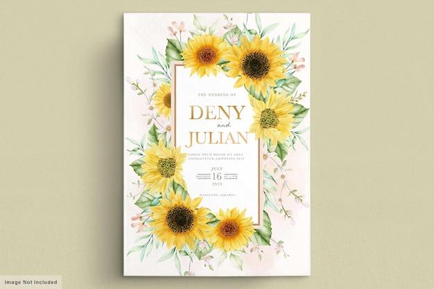 Ensemble de cartes d'invitation aquarelle soleil fleur