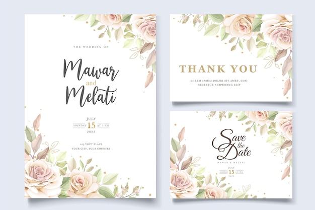 Ensemble de cartes d'invitation élégantes roses dessinées à la main