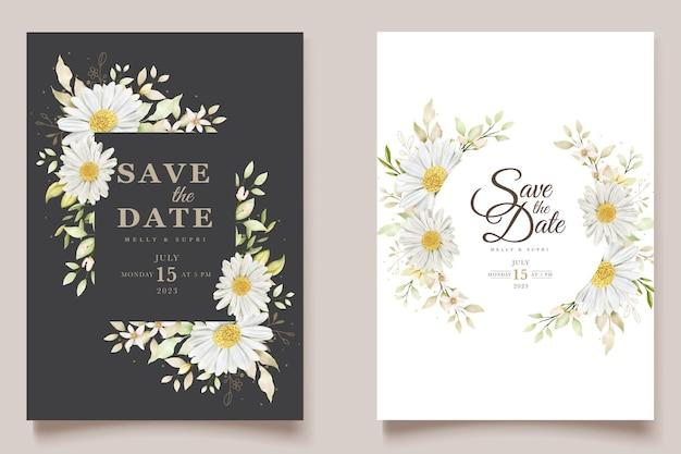 Ensemble de cartes d & # 39; invitation d & # 39; été aquarelle chrysanthème