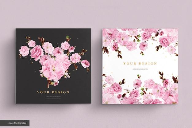 Ensemble de cartes d'invitation de fleurs de cerisier