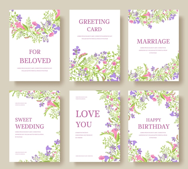 Ensemble de cartes d'invitation de fleurs. invitez le mariage. fond de mariage. dépliant d'invitation de mariage.