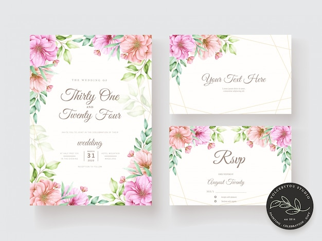 Ensemble de cartes d'invitation floral aquarelle et feuilles