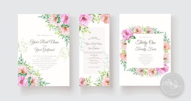 Ensemble de cartes d'invitation floral aquarelle et feuilles