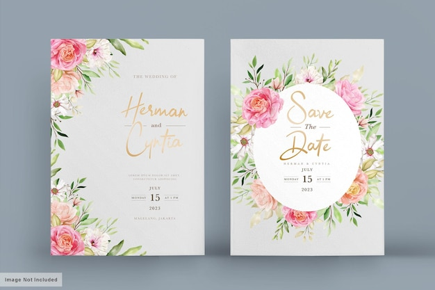 Ensemble de cartes d & # 39; invitation floral printemps aquarelle