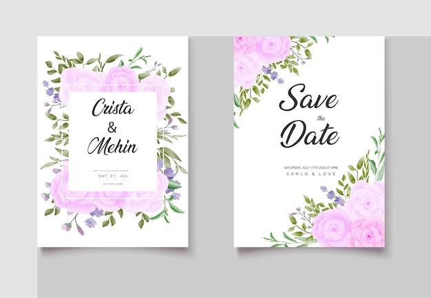 Ensemble de cartes d'invitation florales aquarelle