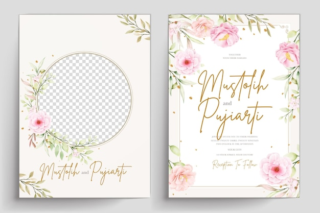 Ensemble de cartes d'invitation florales aquarelles dessinées à la main