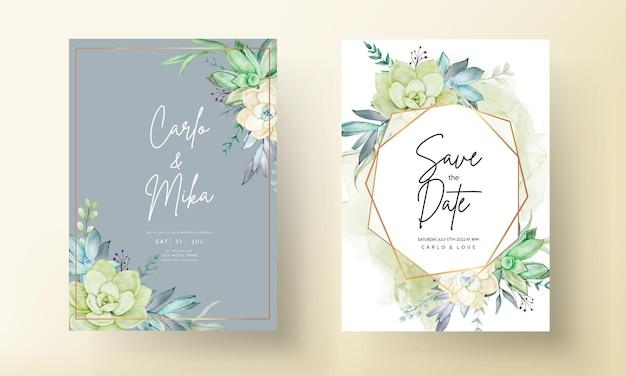Ensemble de cartes d'invitation de mariage aquarelle belle fleur succulente