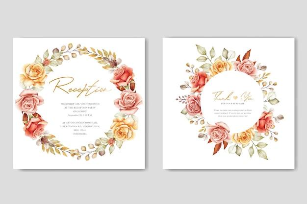 Ensemble de cartes d'invitation de mariage aquarelle été floral et feuilles