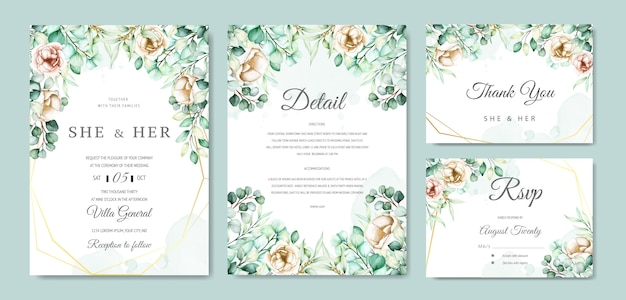 Ensemble de cartes d'invitation de mariage aquarelle eucalyptus