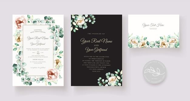 Ensemble de cartes d'invitation de mariage aquarelle eucalyptus