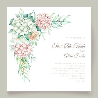 Ensemble de cartes d & # 39; invitation de mariage aquarelle floral et feuilles