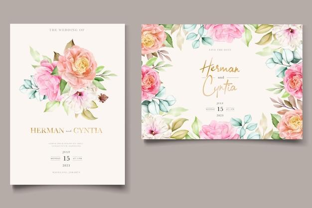 Ensemble De Cartes D'invitation De Mariage Aquarelle Floral Et Feuilles Vecteur Premium