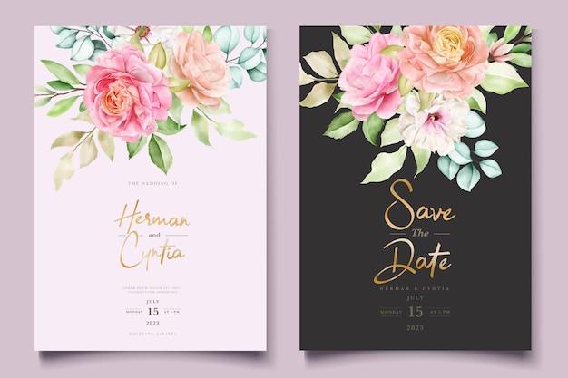 Ensemble De Cartes D'invitation De Mariage Aquarelle Floral Et Feuilles Vecteur gratuit