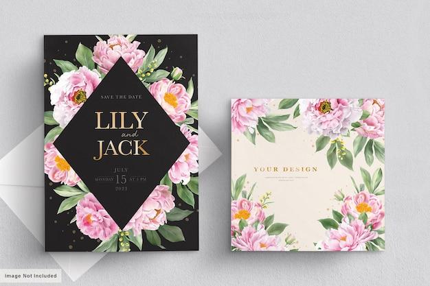Ensemble de cartes d'invitation de mariage aquarelle pivoines