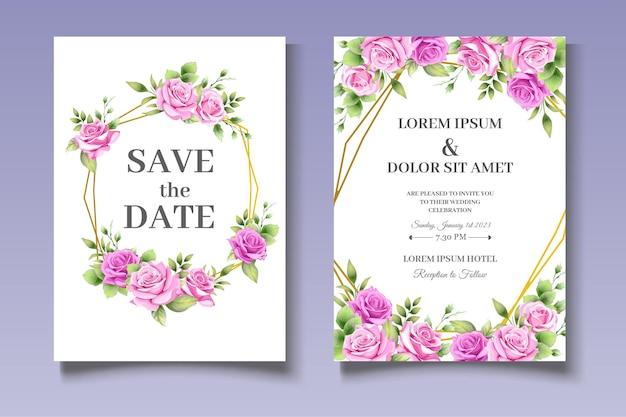 Ensemble de cartes d & # 39; invitation de mariage de belles fleurs