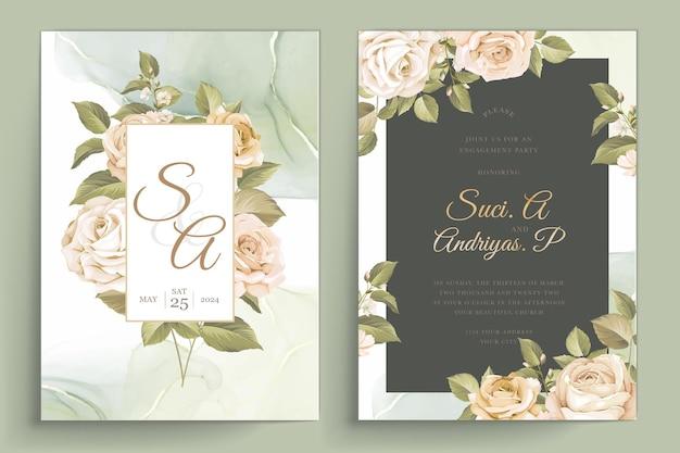 Ensemble de cartes d'invitation de mariage de belles roses dessinées à la main