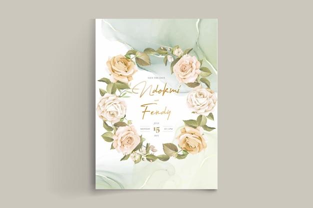 Ensemble De Cartes D'invitation De Mariage De Belles Roses Dessinées à La Main Vecteur Premium
