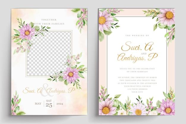 Ensemble de cartes d'invitation de mariage de chrysanthème à l'aquarelle