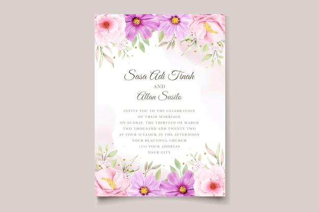 Ensemble de cartes d'invitation de mariage de chrysanthème