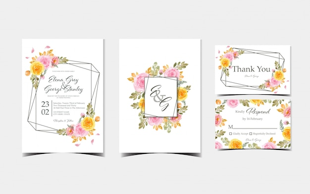 Ensemble de cartes d'invitation de mariage colorées
