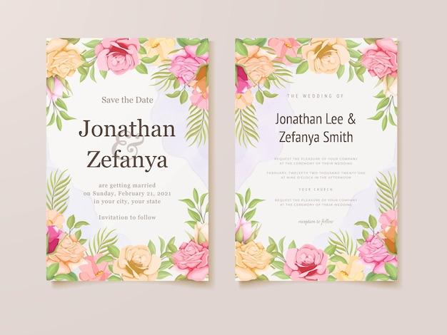 Ensemble de cartes d'invitation de mariage conception de modèle floral