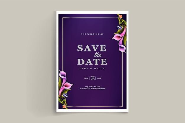 Ensemble de cartes d'invitation de mariage élégant enregistrer la date