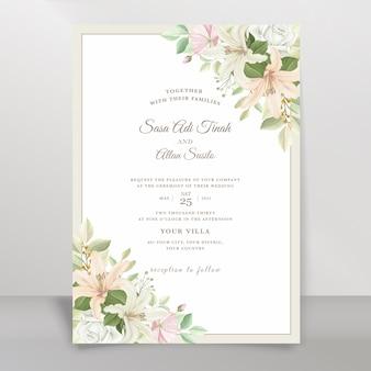 Ensemble de cartes d'invitation de mariage élégant lily