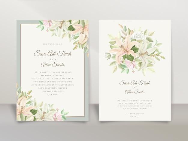 Ensemble de cartes d'invitation de mariage élégant lys