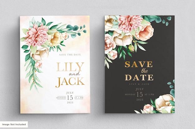 Ensemble de cartes d'invitation de mariage élégant pivoines aquarelle