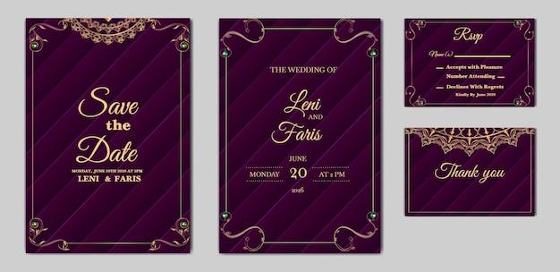 Ensemble de cartes d'invitation de mariage élégant