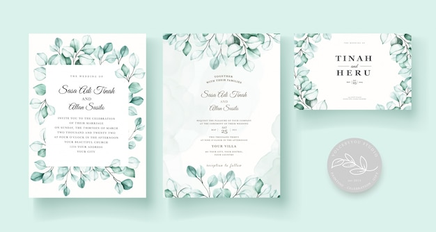 Ensemble de cartes d'invitation de mariage eucalyptus élégant