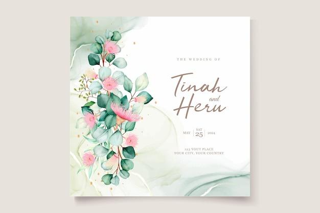 Ensemble de cartes d'invitation de mariage de fleurs d'eucalyptus