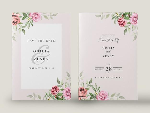 Ensemble de cartes d'invitation de mariage floral aquarelle élégant